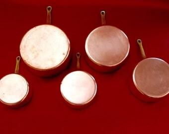 Set of 5 French Antique Copper Pots