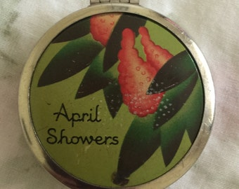 Vintage April Showers Metal Rouge Compact by Cheramy