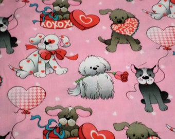 Cute Puppy Valentines Fabric, La--di-draw, Inc,  By the Half Yard, 100% Cotton
