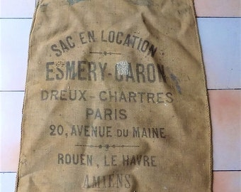 Vintage French Burlap Sack, Clear Writing, Industrial, Upholstery, Garden Decor, No.4