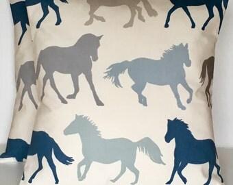 "2 x 16"" (40cm x 40cm) Clarke & Clarke Stampede White blue grey horse print cushion covers"