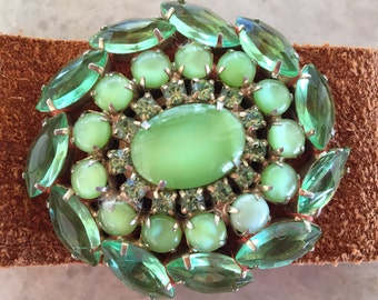 Vintage Cuff Bracelet Green Rhinestone Brooch Leather