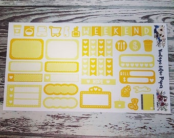 Planner Sticker Sampler in Yellow: Perfect for any size planner!
