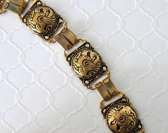 Vintage Dragon Damascene Bracelet, Gold Tone, Dragon Bracelet, Damascene Jewelry. Black and Gold Bracelet, Lightweight Bracelet DB20