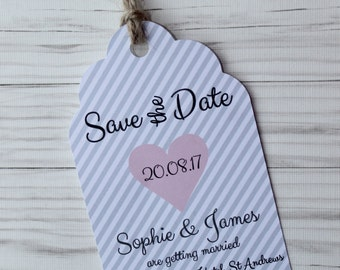 Grey Stripe Save the Date Tags with Twine