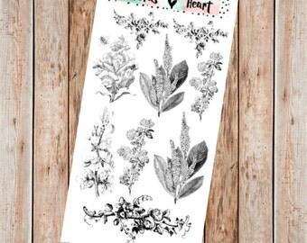 Vintage floral illustration black planner stickers