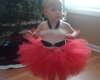 Infant~Baby Santa Tutu Dress~Lined Top~ Christmas Tutu~ Holiday Tutu~ Size: 3-6months~ Made and Ready to Go!