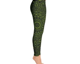 Chartreuse Yoga Pants - Black Leggings with Green Mandala Designs for Women, Printed Leggings, Pattern Yoga Tights