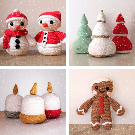 Christmas Patterns: Snowmen, Trees, Candles and Gingerbread Man. Amigurumi Pattern PDF.