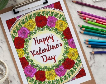 "Happy Valentine's Day Coloring Page | Printable 8.5x11"" PDF adult coloring page 