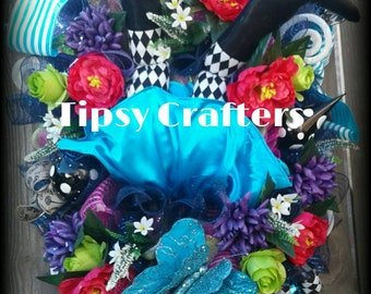 Alice in Wonderland Wreath  - Down the Rabbit Hole - Mad Hatter Wreath - Alice Wreath