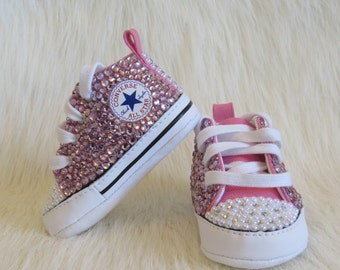 Baby girl Rhinestones and pearls converse