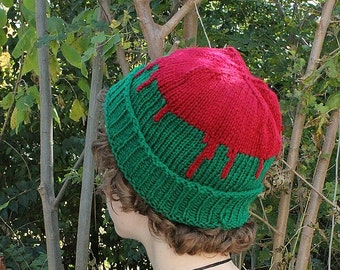 Knit Pattern PDF File - Red-on-Green Drip Hat - Beginner's Easy Pattern - Adult Hat - Simple Pattern - Knit Crochet Hat - Easy To Make