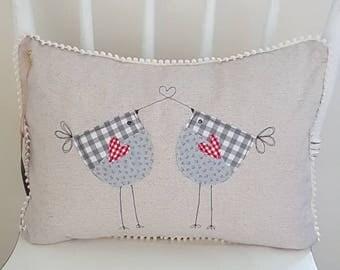 lovebirds cushion, bird cushion, linen cushion, decorative cushion, decorative pillow, cushion cover, anniversary gift, wedding gift