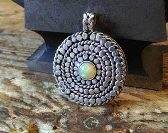 Pendant amulet Viking silver opal