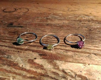 Fine silver ring with rough stone Emerald Ruby Chrysoberyl gemstone