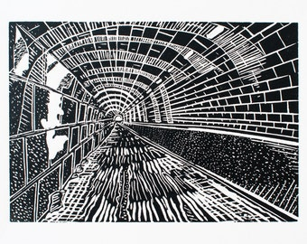 CLEARANCE: The Innocent Railway (Original Linocut Print)