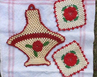 Vintage Handmade Crocheted or Tatted Rose Basket and Pot Holders