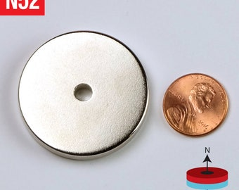 2pcs Large Ring 38mm x 5mm Hole 5mm - 1.5 x 3/16 inch Hole 3/16 inch Grade N52 Very Strong Rare Earth NdFeB Neodymium Magnet