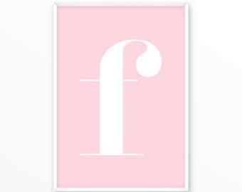 Letter f Print, F Initials Poster, scandinavian design, monogram, printable, Typography, Poster, Inspirational Home Decor, wall art, gift