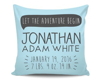 Personalized Birth Announcement, Boy Name Pillow, Custom Baby Pillow, Baby Announcement Gift, Custom Baby Gift, Newborn Stats Pillow