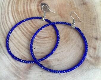 Cobalt Hoop Earrings,Royal Blue Crystal Earrings,Beadwork Earrings,Beaded Earrings,Crystal Hope Earrings,Cobalt Blue Earrings,Gift For Her