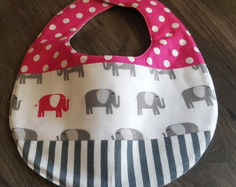 Reversible Baby Bib with Elephant and Polka Dots