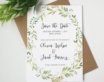 Garden Save the Date Cards - Greenery - Save the Date Card - Timeless Garden Collection