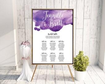 Wedding Seating Plan // Seating Chart, Welcome Sign, Printable Sign, Seating Plan, Digital Wedding Stationery, Watercolour Wedding