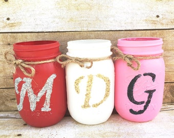 single hand painted and distressed mason jars valentines valentines day decor teachers gifts