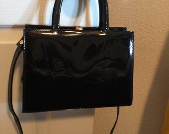 Black vintage plastic purse -small