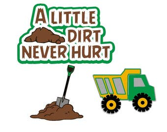 dump truck svg, construction svg, a little dirt svg, cutting file. clip art, clipart, digital, instant download