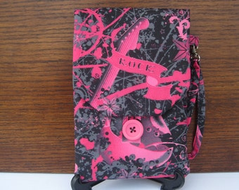 SALE Rock Kindle Case, Guitar Theme Cover for Kindle Reader or Kindle Fire, Pink and Black Guitar Rock Print with Wristlet, Padded Case