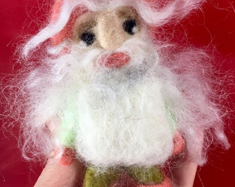 Handmade Gnome  Gifts Needle Felted Gnome Art Collectibles Fiber Arts Toy Felting Wool Gnome  Doll