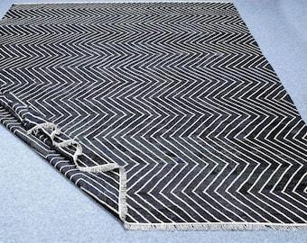 Custom made black and white kilim rug for andresmodak size: 5.5 feet x 6.5 feet
