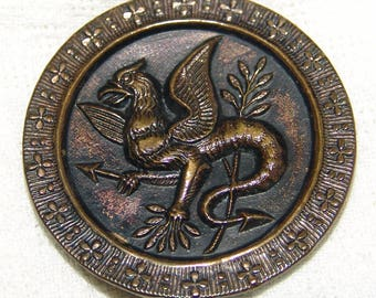 """Extra Large Antique Brass Dragon Button ~ 1 3/4"""" ~ Victorian """"Fabulous Creature"""" Button ~ Tinted Brass ~ Excellent Condition!"""