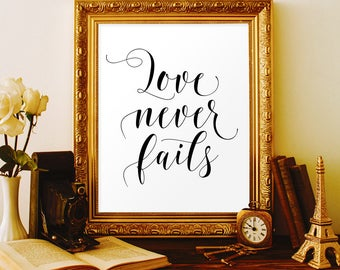 Love never fails sign Christian printables 1 Corinthians 13 sign Bible verse decor Bible verse calligraphy 50th anniversary gifts Religious
