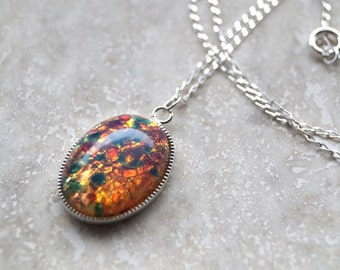 Fire Opal Glass Cabochon Necklace,Sterling Silver Fire Opal Necklace