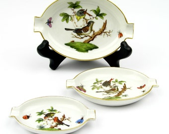 Vintage Herend Hand-Painted Porcelain Tray Set - Trinket Tray Set - Ashtray Set - Serving Tray Set