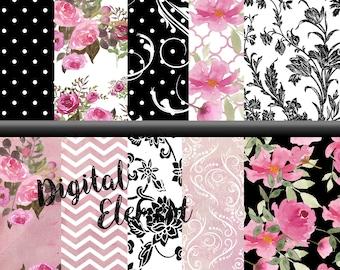 Watercolor Floral Paper, Digital Paper, Shabby Pink Rose Paper, Hand Painted Watercolor Paper,  Digital Scrapbook Paper. No. P158