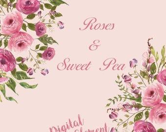 ON SALE Watercolor floral Clipart, Digital Shabby Rose Clipart, Digital Sweet Pea Clipart, Scrapbook Digital Clipart, Vintage Flowers. No. W