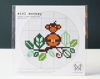 Mini Monkey - Kids Counted Cross Stitch Kit - Easy Beginner Level Cross Stitch Kit