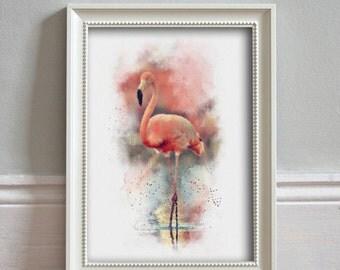 FLAMINGO Watercolor Illustration Wildlife Print Pink Flamingo Print Bird Lover Wall Art Home Decor Wildlife Poster - ART PRINT