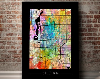 Beijing Map - City Street Map of Beijing, China - Art Print Watercolor Illustration Wall Art Home Decor Gift - Sunset Series PRINT
