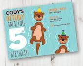 Ocean Birthday Invitation, Printable Invitation, Birthday Invitation, Printable, Custom, Otter, Girl Birthday, Boy Birthday, Sea