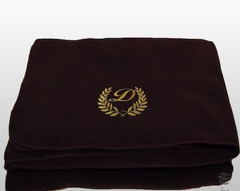 Personalized Custom Embroidery Ref. Laureado Polar Sofa Bed Travel Fleece Embroidered Blanket – Brown
