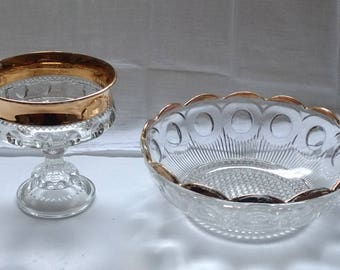 Vintage Kings Crown Clear Gold Footed Compote and  Bonus Bowl
