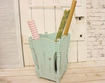 Umbrella stand turquoise Shabby Chic