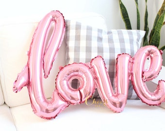 Love script foil balloon PINK or RED - birthday balloon - love balloon - valentine - party decor - bridal shower - engagement decor