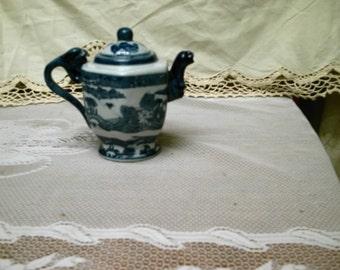 sale Victoria Ware Ironstone  Flow Blue Teapot Blue White